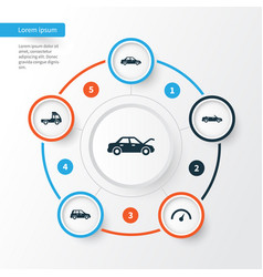 Car icons set collection of fixing chronometer vector