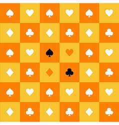 Card suits yellow orange chess board background vector