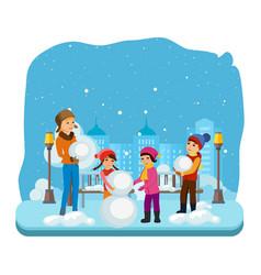 children in winter clothes sculpt a snowman vector image vector image