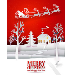 christmas paper art with santa vector image vector image