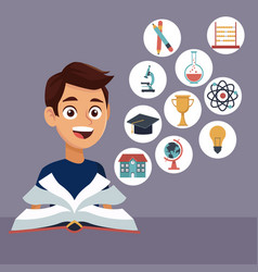 color background with boy student with book in vector image vector image