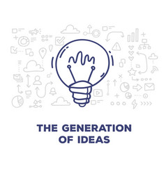 creative of big light bulb with line icons and vector image