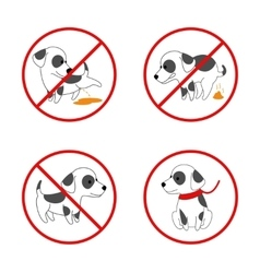 Dog signs No pissing and pooping icon vector image vector image
