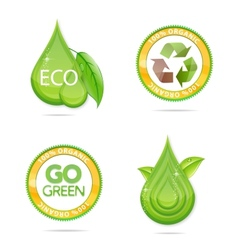 eco green drops and emblems set vector image