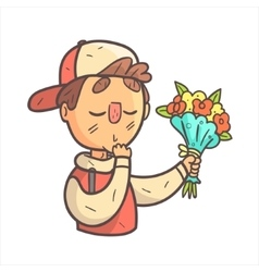 Feeling shy giving flowers boy in cap and college vector