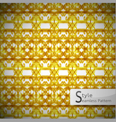 Flower gold bow mesh geometric seamless pattern vector