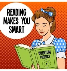 Girl reading book poster retro vector