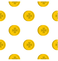 Golden coin with clover sign pattern seamless vector