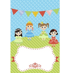 Greeting card with little girls vector image