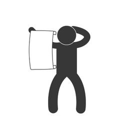 Man with paper newsletter figure pictogram vector