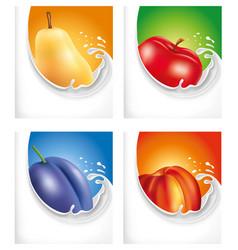 milk splash pear-apple-plum-peach vector image
