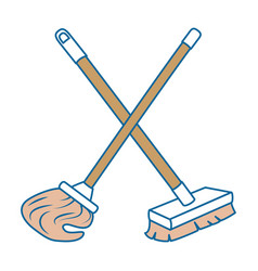 mop and brush icon vector image