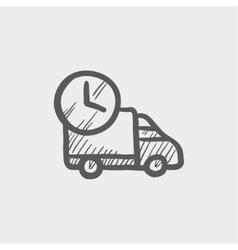 On time delivery van sketch icon vector