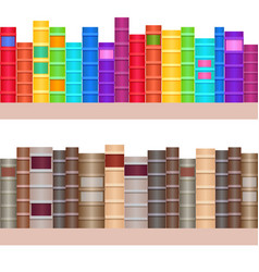 Seamless texture shelves with a variety of books vector