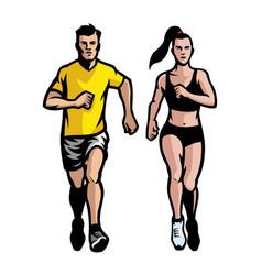 Set of man and women running vector