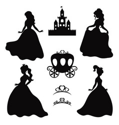 Set of silhouettes of princess set of silhouettes vector