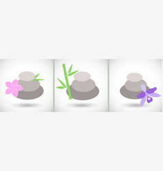 Spa stones icons set vector
