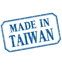 Taiwan - made in blue vintage isolated label vector