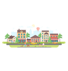 Town life - modern flat design style vector