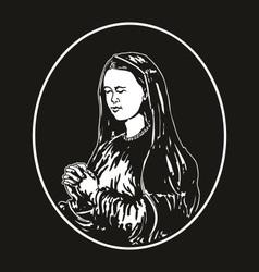 virgin mary praying vector image vector image