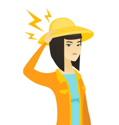 Young asian farmer with lightning over her head vector