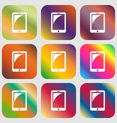 Tablet sign icon smartphone button nine buttons vector
