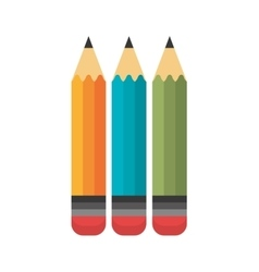 cartoon three pencil school design vector image