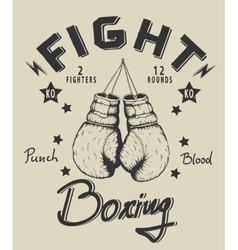 Retro monochrome label with boxing gloves vector