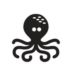 Flat icon in black and white octopus vector image