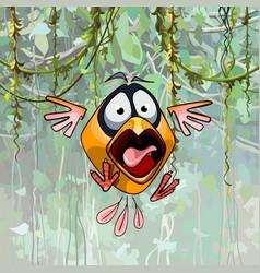 Scared cartoon funny bird with open beak vector