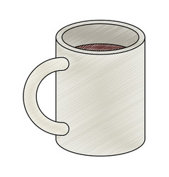 Color crayon stripe silhouette of porcelain mug vector