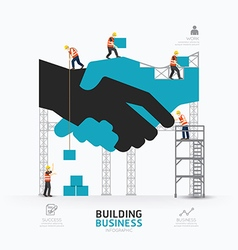 Infographic business handshake shape template vector