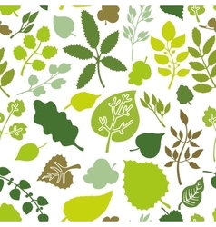 Green leavesbranches silhouette seamless pattern vector