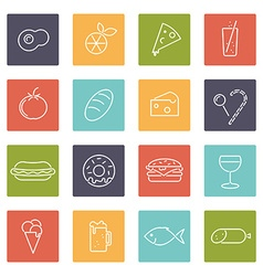 Food line icons set vector