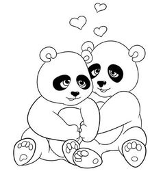Lovely cartoon pandas vector
