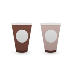 Brown tea and coffee cups vector