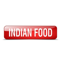 Indian food red square 3d realistic isolated web vector