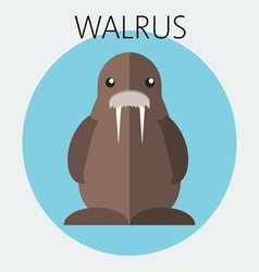 Abstract with a brown walrus in a round blue frame vector image