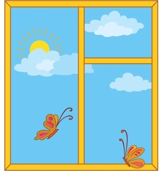 Window with sky sun and butterflies vector