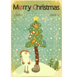 Christmas retro placard vector