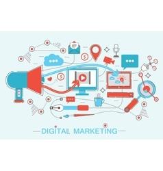 Online Digital Marketing and social network media vector image