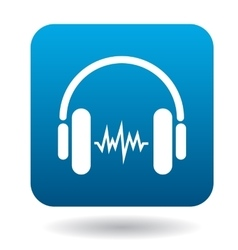 Sound in headphones icon flat style vector