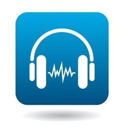 Sound in headphones icon flat style vector