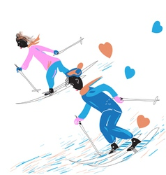 A Couple Skiing vector image vector image