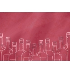 Background with hand drawn bottles for the bar vector