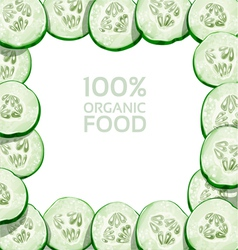 Beautiful frame from slices of fresh cucumber vector