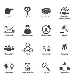 big data icon set business it strategic planning vector image