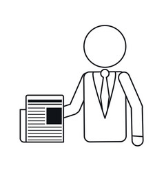 business man document work office outline vector image