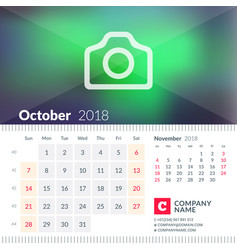 Calendar for october 2018 week starts on sunday 2 vector