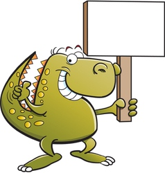 Cartoon Tyrannosaurus Rex Holding a Sign vector image